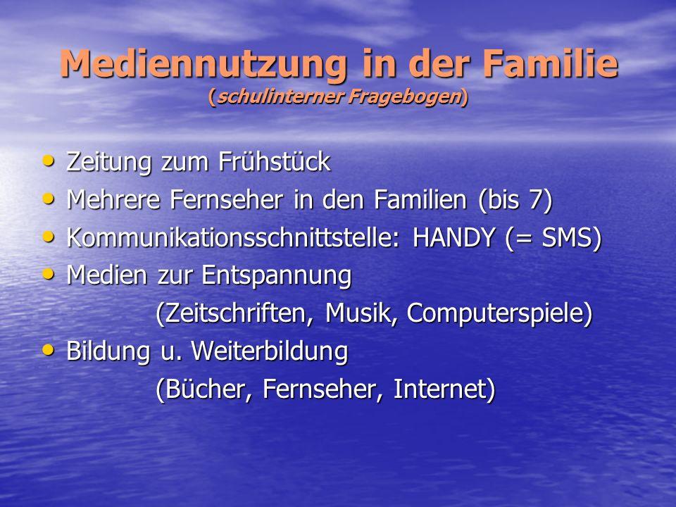 Mediennutzung in der Familie (schulinterner Fragebogen) Zeitung zum Frühstück Zeitung zum Frühstück Mehrere Fernseher in den Familien (bis 7) Mehrere
