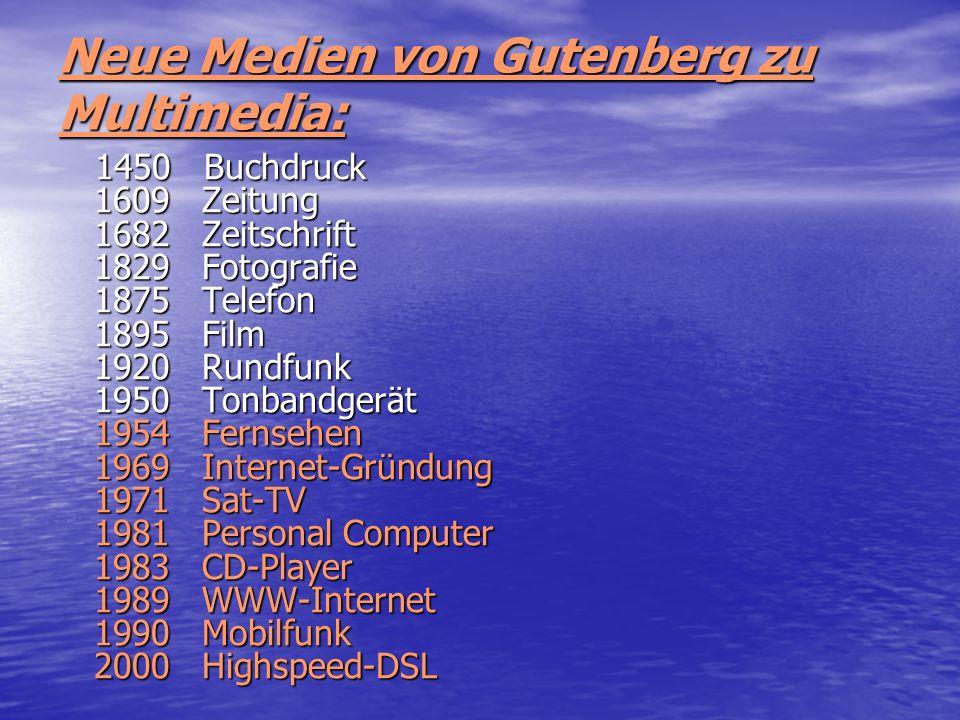 Neue Medien von Gutenberg zu Multimedia: 1450 Buchdruck 1609 Zeitung 1682 Zeitschrift 1829 Fotografie 1875 Telefon 1895 Film 1920 Rundfunk 1950 Tonban