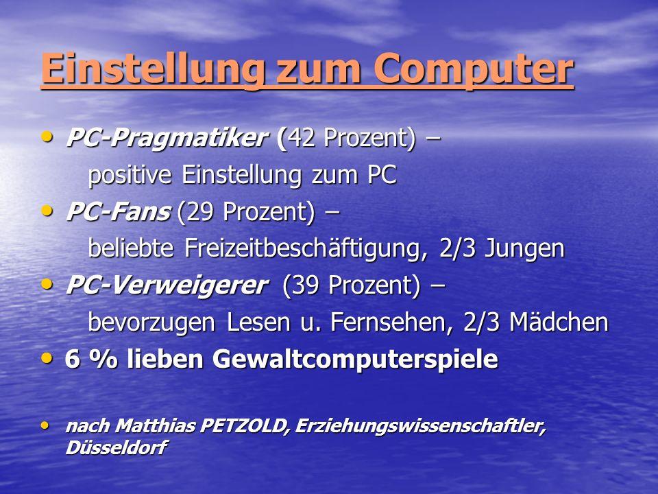 Einstellung zum Computer PC-Pragmatiker (42 Prozent) – PC-Pragmatiker (42 Prozent) – positive Einstellung zum PC positive Einstellung zum PC PC-Fans (