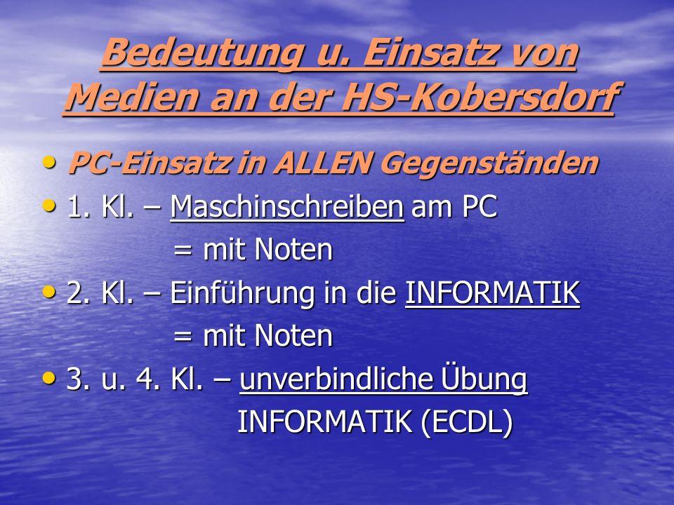 Bedeutung u. Einsatz von Medien an der HS-Kobersdorf PC-Einsatz in ALLEN Gegenständen PC-Einsatz in ALLEN Gegenständen 1. Kl. – Maschinschreiben am PC
