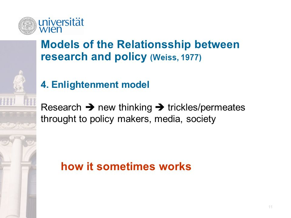 11 4. Enlightenment model Research new thinking trickles/permeates throught to policy makers, media, society how it sometimes works Models of the Rela