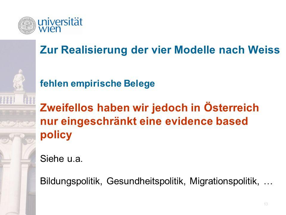 13 fehlen empirische Belege Zweifellos haben wir jedoch in Österreich nur eingeschränkt eine evidence based policy Siehe u.a. Bildungspolitik, Gesundh