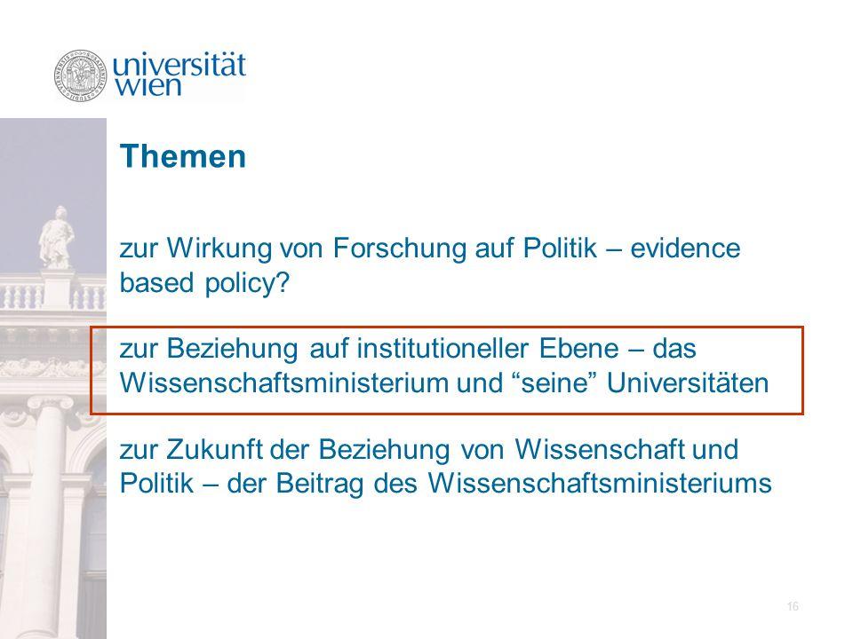 16 zur Wirkung von Forschung auf Politik – evidence based policy? zur Beziehung auf institutioneller Ebene – das Wissenschaftsministerium und seine Un