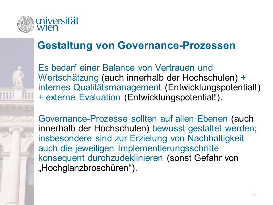 29 Es bedarf einer Balance von Vertrauen und Wertschätzung (auch innerhalb der Hochschulen) + internes Qualitätsmanagement (Entwicklungspotential!) +