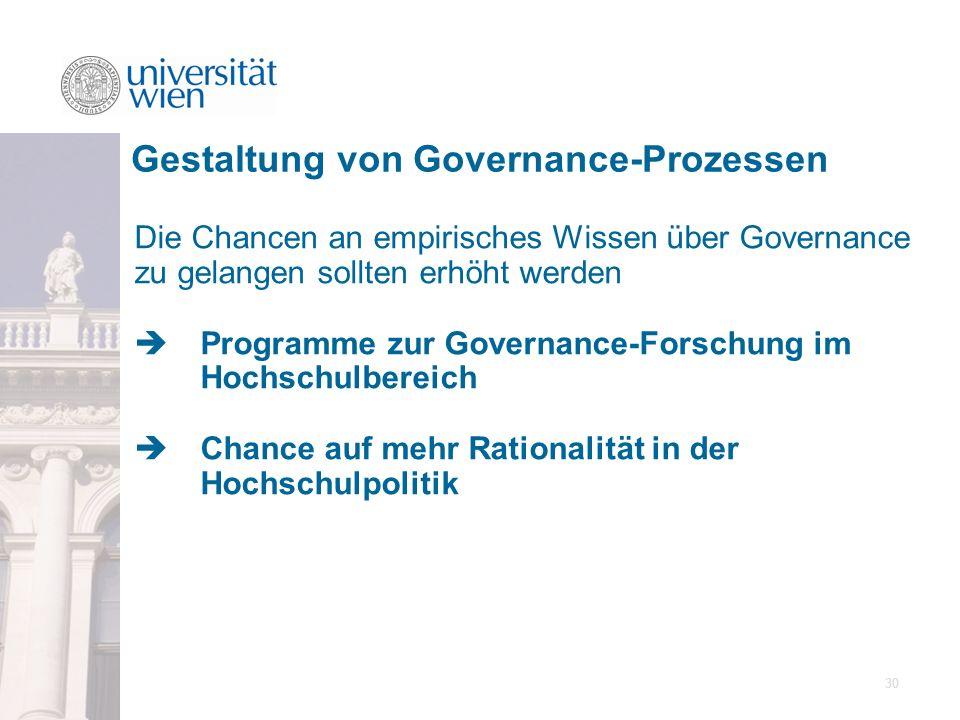 30 Die Chancen an empirisches Wissen über Governance zu gelangen sollten erhöht werden Programme zur Governance-Forschung im Hochschulbereich Chance a