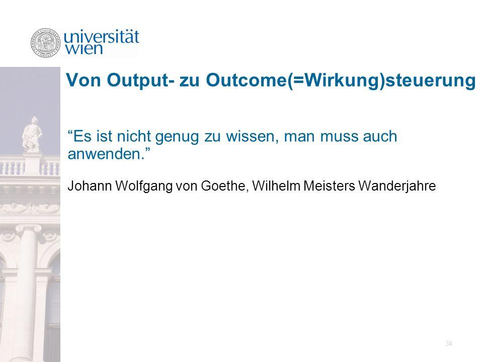 34 Es ist nicht genug zu wissen, man muss auch anwenden. Johann Wolfgang von Goethe, Wilhelm Meisters Wanderjahre Von Output- zu Outcome(=Wirkung)steu