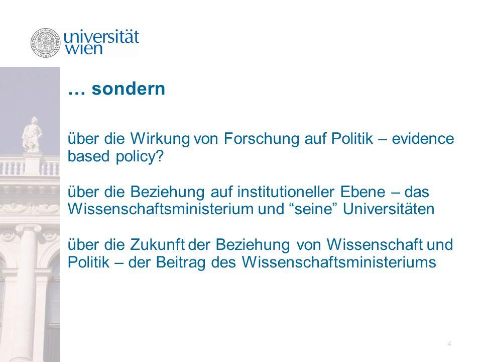 4 über die Wirkung von Forschung auf Politik – evidence based policy? über die Beziehung auf institutioneller Ebene – das Wissenschaftsministerium und