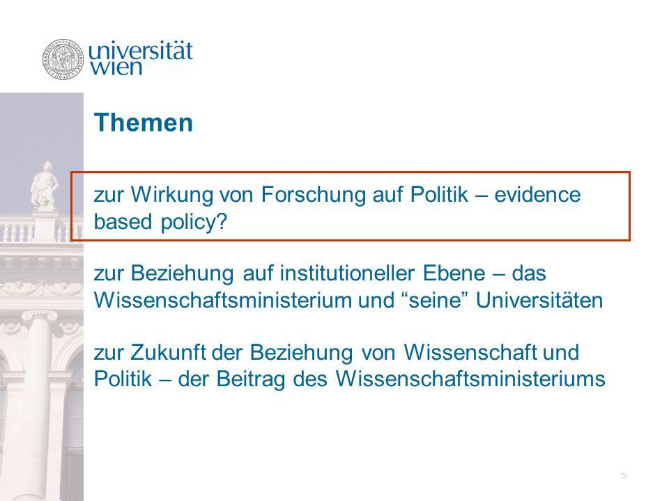 16 zur Wirkung von Forschung auf Politik – evidence based policy.
