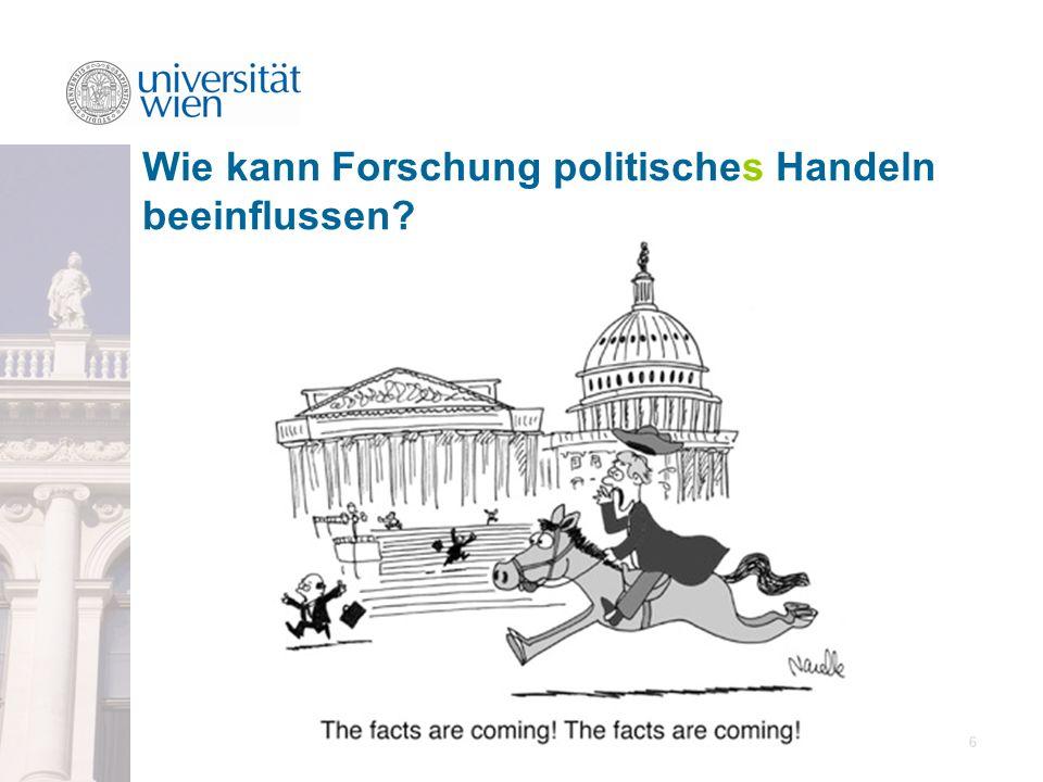 27 zur Wirkung von Forschung auf Politik – evidence based policy.