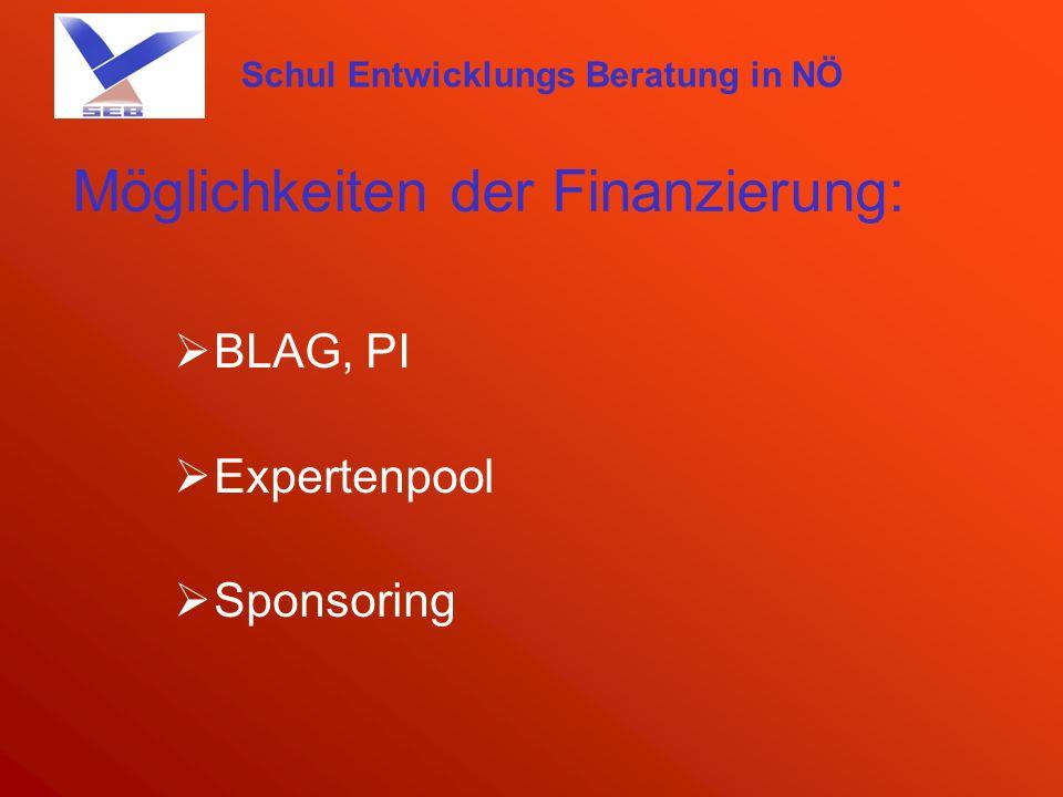 Schul Entwicklungs Beratung in NÖ Möglichkeiten der Finanzierung: BLAG, PI Expertenpool Sponsoring