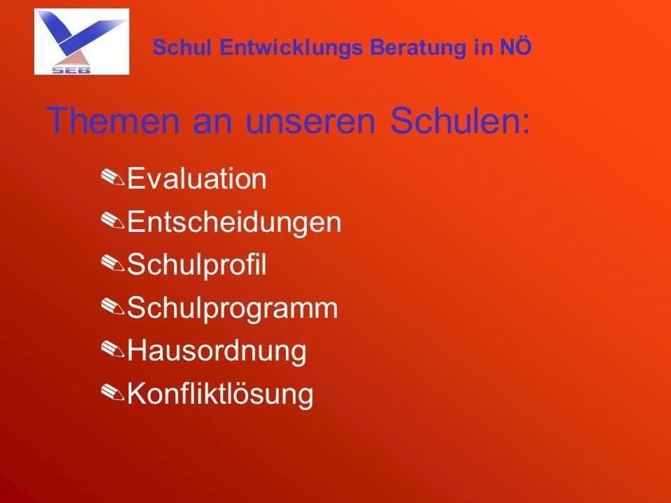 Schul Entwicklungs Beratung in NÖ Themen an unseren Schulen: Leitbild Qualitätsentwicklung und Qualitätssicherung Schulpartnerschaft Förderkonzept …