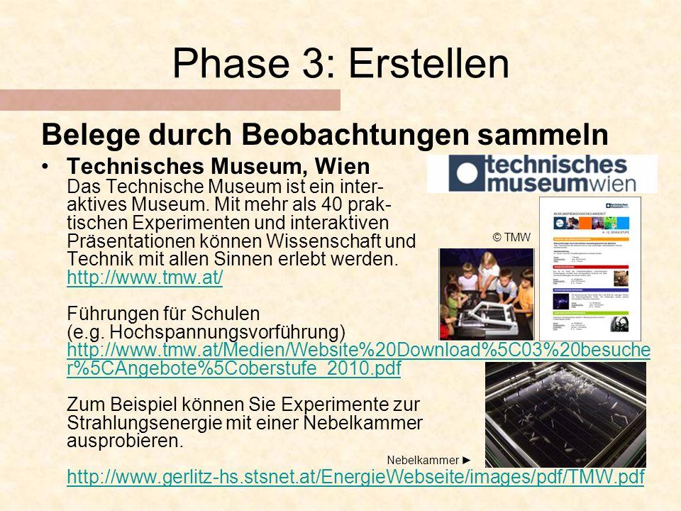 Phase 3: Erstellen Belege durch Beobachtungen sammeln Technisches Museum, Wien Das Technische Museum ist ein inter- aktives Museum.