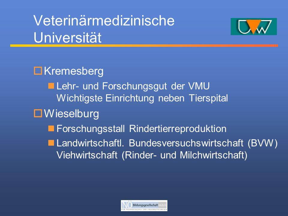Veterinärmedizinische Universität Kremesberg Lehr- und Forschungsgut der VMU Wichtigste Einrichtung neben Tierspital Wieselburg Forschungsstall Rindertierreproduktion Landwirtschaftl.