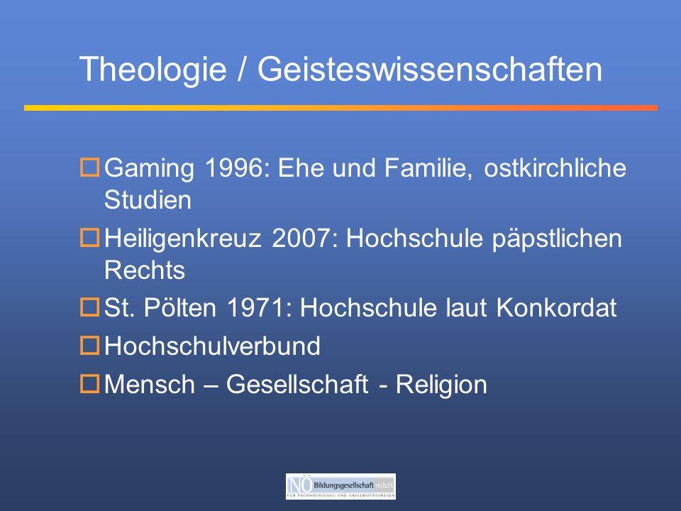 Theologie / Geisteswissenschaften Gaming 1996: Ehe und Familie, ostkirchliche Studien Heiligenkreuz 2007: Hochschule päpstlichen Rechts St.
