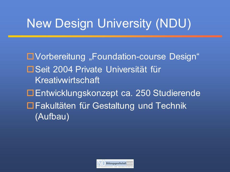 Vorbereitung Foundation-course Design Seit 2004 Private Universität für Kreativwirtschaft Entwicklungskonzept ca.
