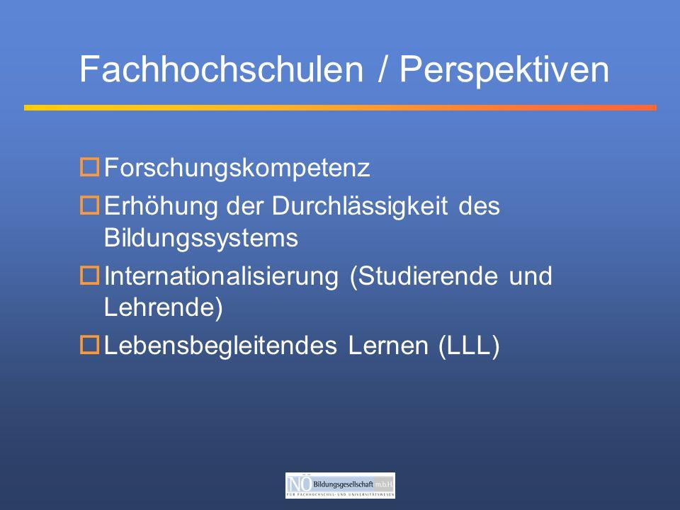 Fachhochschulen / Perspektiven Forschungskompetenz Erhöhung der Durchlässigkeit des Bildungssystems Internationalisierung (Studierende und Lehrende) Lebensbegleitendes Lernen (LLL)