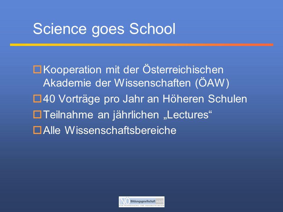 Science goes School Kooperation mit der Österreichischen Akademie der Wissenschaften (ÖAW) 40 Vorträge pro Jahr an Höheren Schulen Teilnahme an jährlichen Lectures Alle Wissenschaftsbereiche