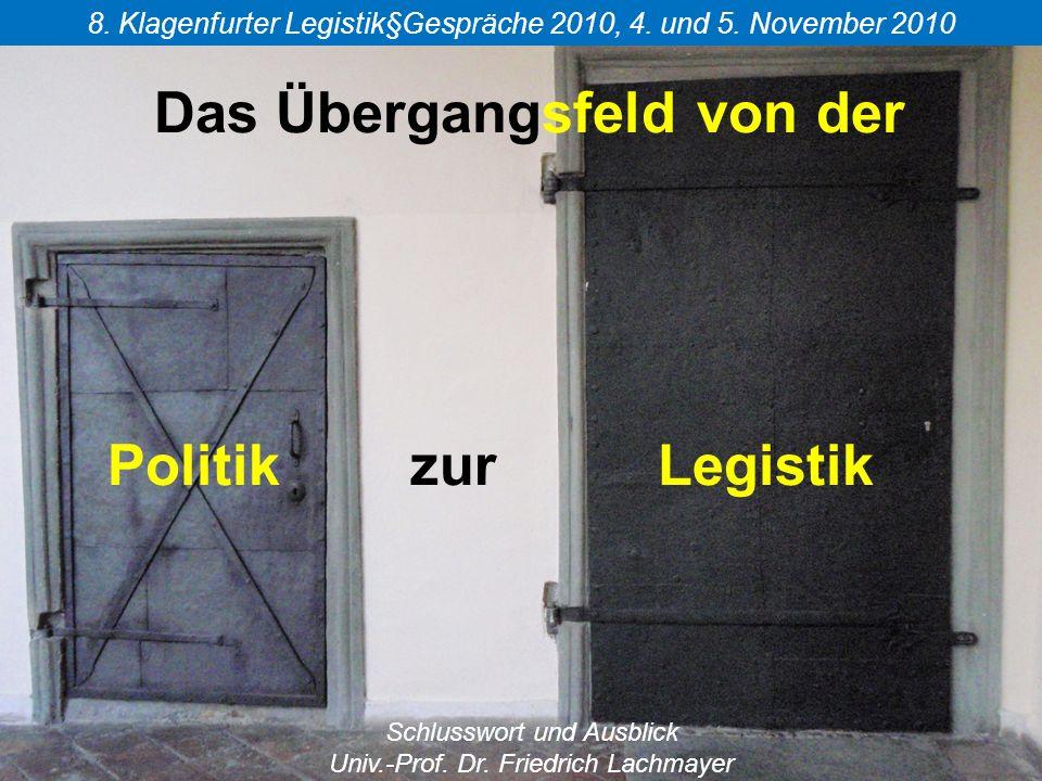 Das Übergangsfeld von der Politik zur Legistik 8. Klagenfurter Legistik§Gespräche 2010, 4.