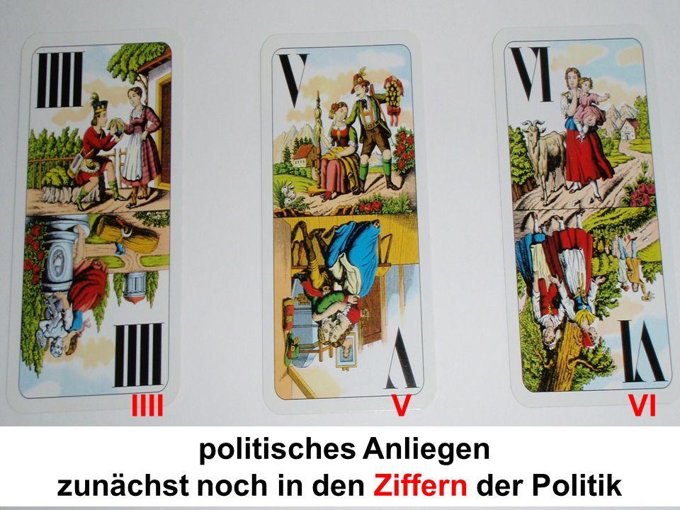politisches Anliegen zunächst noch in den Ziffern der Politik IIII V VI