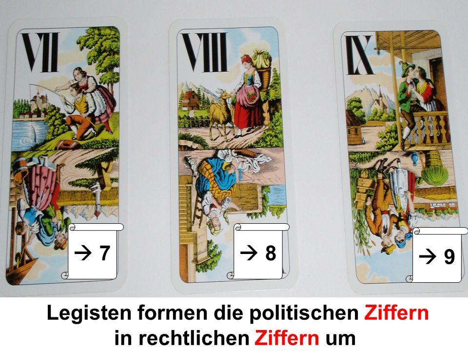 Legisten formen die politischen Ziffern in rechtlichen Ziffern um 7 8 9