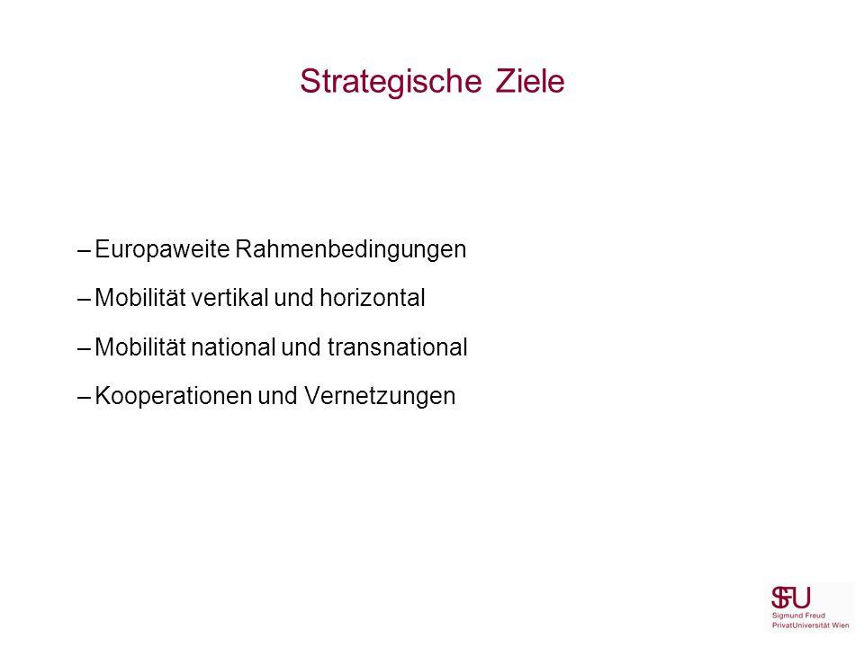 Strategische Ziele –Europaweite Rahmenbedingungen –Mobilität vertikal und horizontal –Mobilität national und transnational –Kooperationen und Vernetzungen