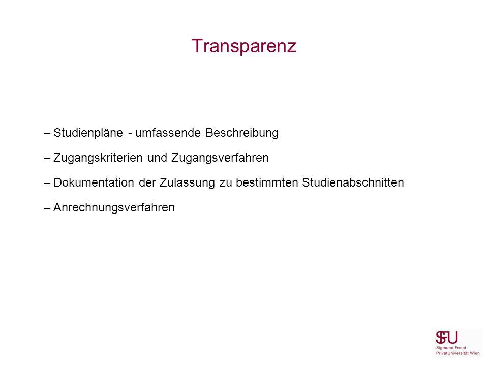 Transparenz –Studienpläne - umfassende Beschreibung –Zugangskriterien und Zugangsverfahren –Dokumentation der Zulassung zu bestimmten Studienabschnitten –Anrechnungsverfahren
