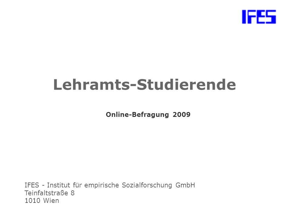 IFES - Institut für empirische Sozialforschung GmbH Teinfaltstraße 8 1010 Wien Lehramts-Studierende Online-Befragung 2009
