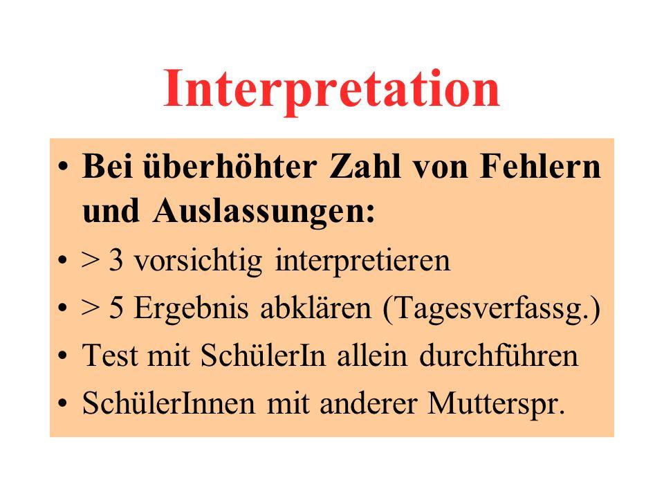 Interpretation Bei überhöhter Zahl von Fehlern und Auslassungen: > 3 vorsichtig interpretieren > 5 Ergebnis abklären (Tagesverfassg.) Test mit SchülerIn allein durchführen SchülerInnen mit anderer Mutterspr.