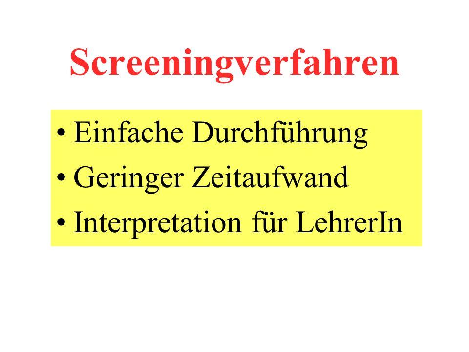 Screeningverfahren Einfache Durchführung Geringer Zeitaufwand Interpretation für LehrerIn