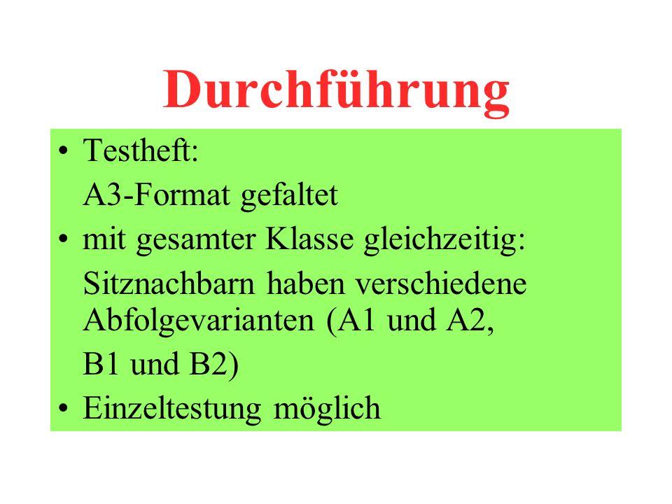 Durchführung Testheft: A3-Format gefaltet mit gesamter Klasse gleichzeitig: Sitznachbarn haben verschiedene Abfolgevarianten (A1 und A2, B1 und B2) Einzeltestung möglich