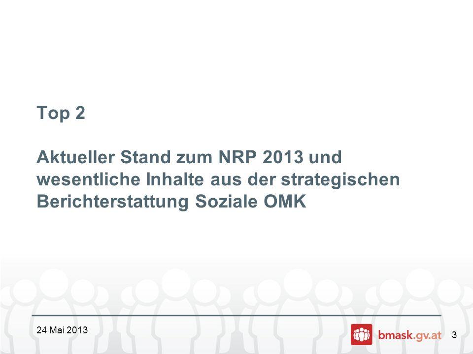 3 Top 2 Aktueller Stand zum NRP 2013 und wesentliche Inhalte aus der strategischen Berichterstattung Soziale OMK 24 Mai 2013