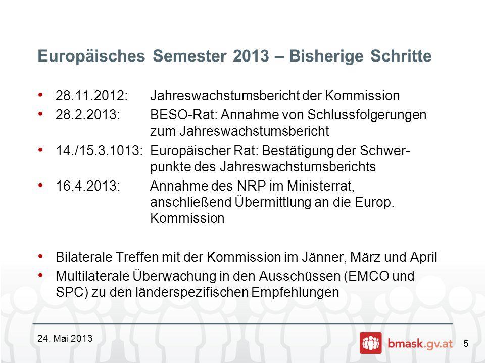 5 Europäisches Semester 2013 – Bisherige Schritte 24. Mai 2013 28.11.2012: Jahreswachstumsbericht der Kommission 28.2.2013:BESO-Rat: Annahme von Schlu