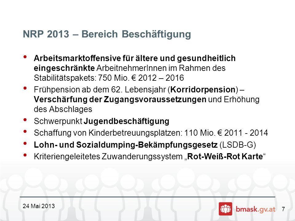 7 NRP 2013 – Bereich Beschäftigung Arbeitsmarktoffensive für ältere und gesundheitlich eingeschränkte ArbeitnehmerInnen im Rahmen des Stabilitätspaket