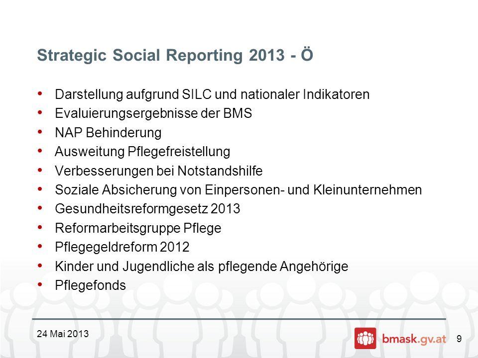 9 Strategic Social Reporting 2013 - Ö Darstellung aufgrund SILC und nationaler Indikatoren Evaluierungsergebnisse der BMS NAP Behinderung Ausweitung P