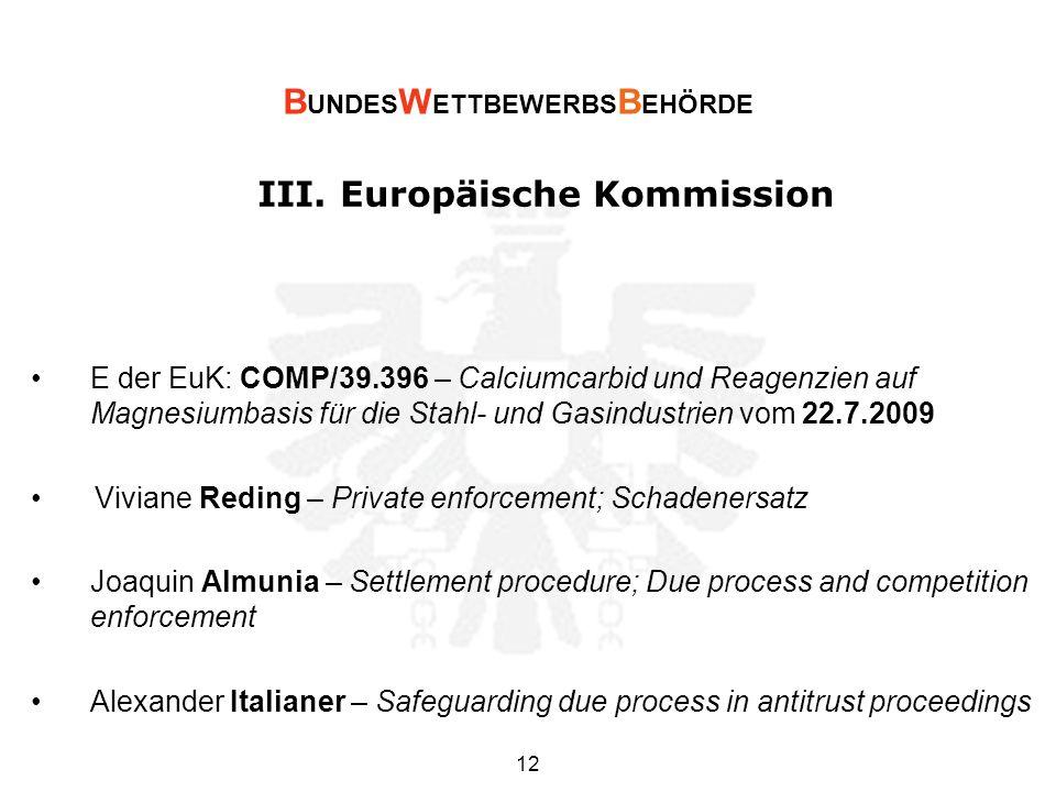 III. Europäische Kommission E der EuK: COMP/39.396 – Calciumcarbid und Reagenzien auf Magnesiumbasis für die Stahl- und Gasindustrien vom 22.7.2009 Vi