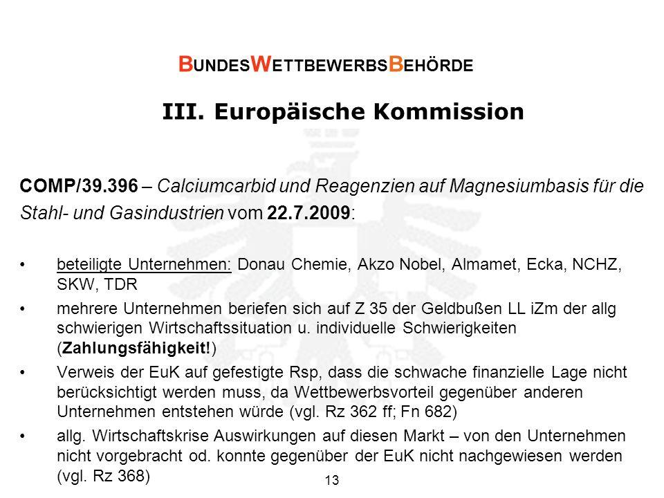 III. Europäische Kommission COMP/39.396 – Calciumcarbid und Reagenzien auf Magnesiumbasis für die Stahl- und Gasindustrien vom 22.7.2009: beteiligte U