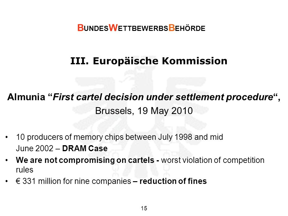 III. Europäische Kommission Almunia First cartel decision under settlement procedure, Brussels, 19 May 2010 10 producers of memory chips between July