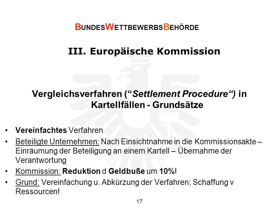 III. Europäische Kommission Vergleichsverfahren (Settlement Procedure) in Kartellfällen - Grundsätze Vereinfachtes Verfahren Beteiligte Unternehmen: N