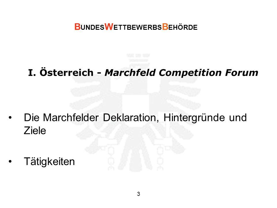 I. Österreich - Marchfeld Competition Forum Die Marchfelder Deklaration, Hintergründe und Ziele Tätigkeiten B UNDES W ETTBEWERBS B EHÖRDE 3
