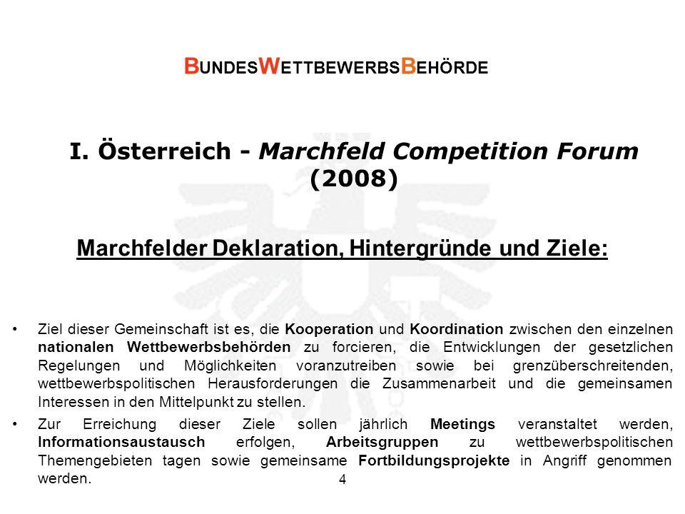 I. Österreich - Marchfeld Competition Forum (2008) Marchfelder Deklaration, Hintergründe und Ziele: Ziel dieser Gemeinschaft ist es, die Kooperation u