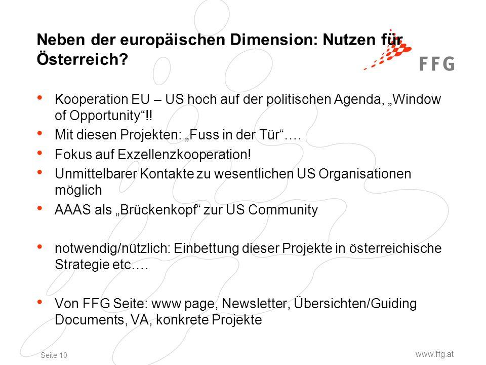 Seite 10 www.ffg.at Neben der europäischen Dimension: Nutzen für Österreich.