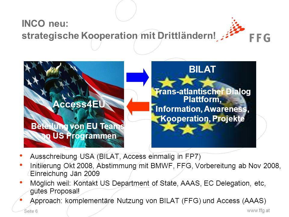Seite 6 www.ffg.at INCO neu: strategische Kooperation mit Drittländern.