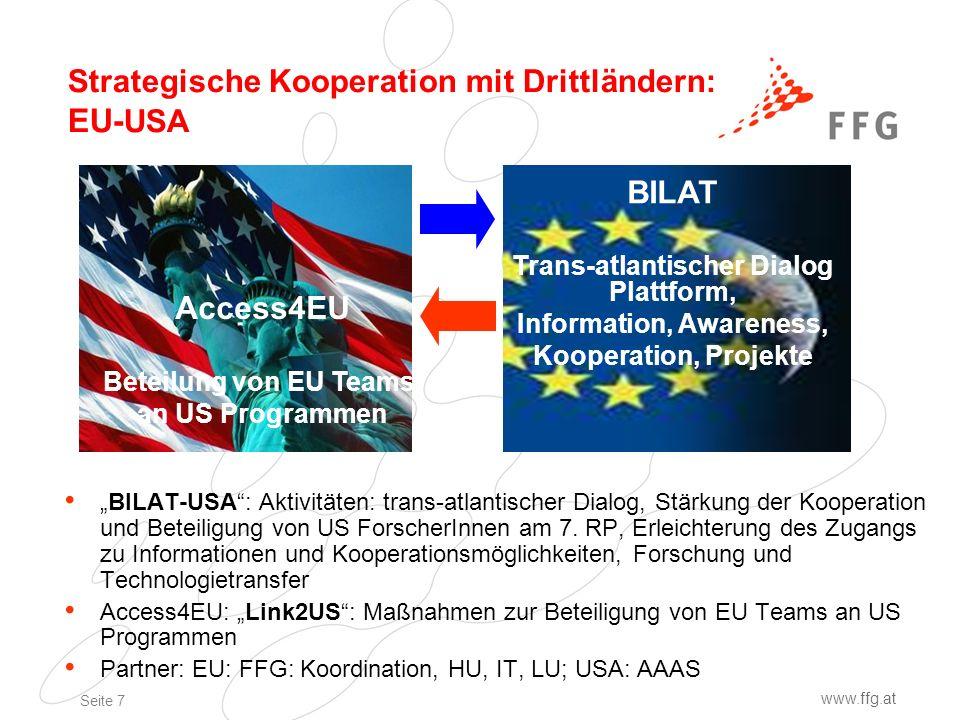 Seite 7 www.ffg.at Strategische Kooperation mit Drittländern: EU- USA BILAT-USA: Aktivitäten: trans-atlantischer Dialog, Stärkung der Kooperation und Beteiligung von US ForscherInnen am 7.