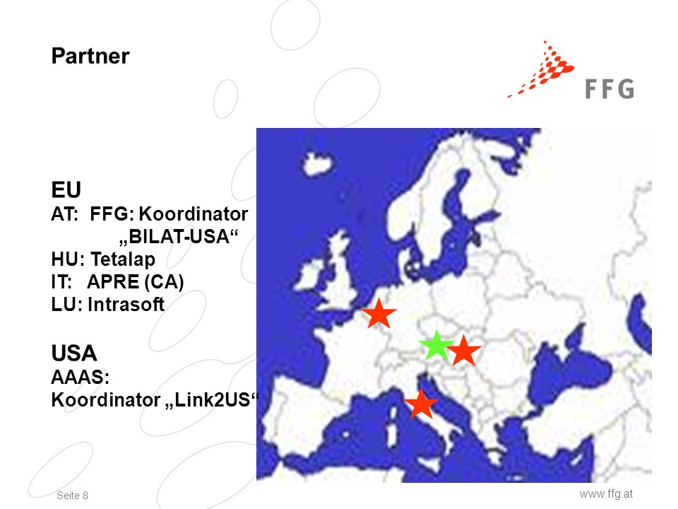 Seite 8 www.ffg.at Partner EU AT: FFG: Koordinator BILAT-USA HU: Tetalap IT: APRE (CA) LU: Intrasoft USA AAAS: Koordinator Link2US