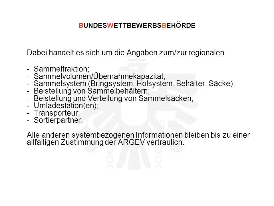 BUNDESWETTBEWERBSBEHÖRDE Dabei handelt es sich um die Angaben zum/zur regionalen - Sammelfraktion; - Sammelvolumen/Übernahmekapazität; - Sammelsystem