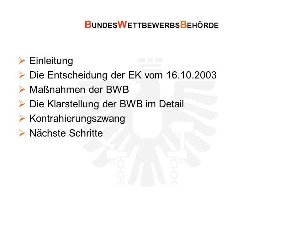 Einleitung Die Entscheidung der EK vom 16.10.2003 Maßnahmen der BWB Die Klarstellung der BWB im Detail Kontrahierungszwang Nächste Schritte B UNDES W