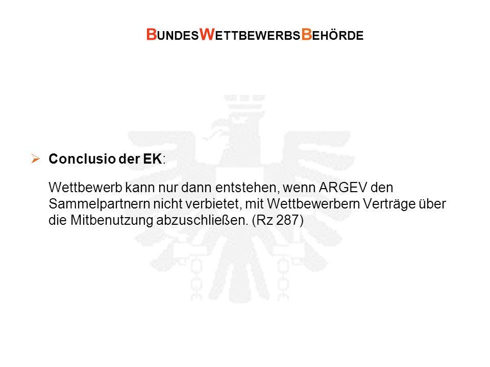 B UNDES W ETTBEWERBS B EHÖRDE Conclusio der EK: Wettbewerb kann nur dann entstehen, wenn ARGEV den Sammelpartnern nicht verbietet, mit Wettbewerbern V