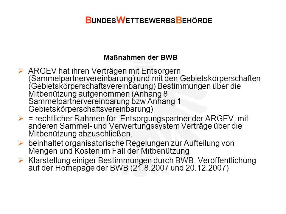 B UNDES W ETTBEWERBS B EHÖRDE Maßnahmen der BWB ARGEV hat ihren Verträgen mit Entsorgern (Sammelpartnervereinbarung) und mit den Gebietskörperschaften