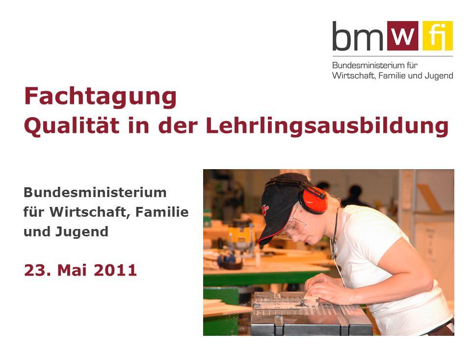 Fachtagung Qualität in der Lehrlingsausbildung Bundesministerium für Wirtschaft, Familie und Jugend 23.