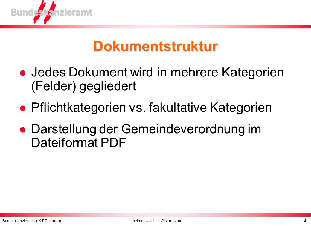 Bundeskanzleramt (IKT-Zentrum) helmut.weichsel@bka.gv.at 4 Bundeskanzleramt Dokumentstruktur Jedes Dokument wird in mehrere Kategorien (Felder) geglie